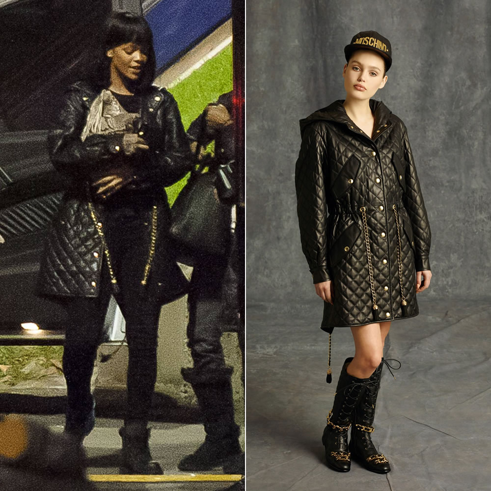 Rihanna wearing Moschino pre-fall 2014 quilted leather coat with chain accents and Timberland black boots