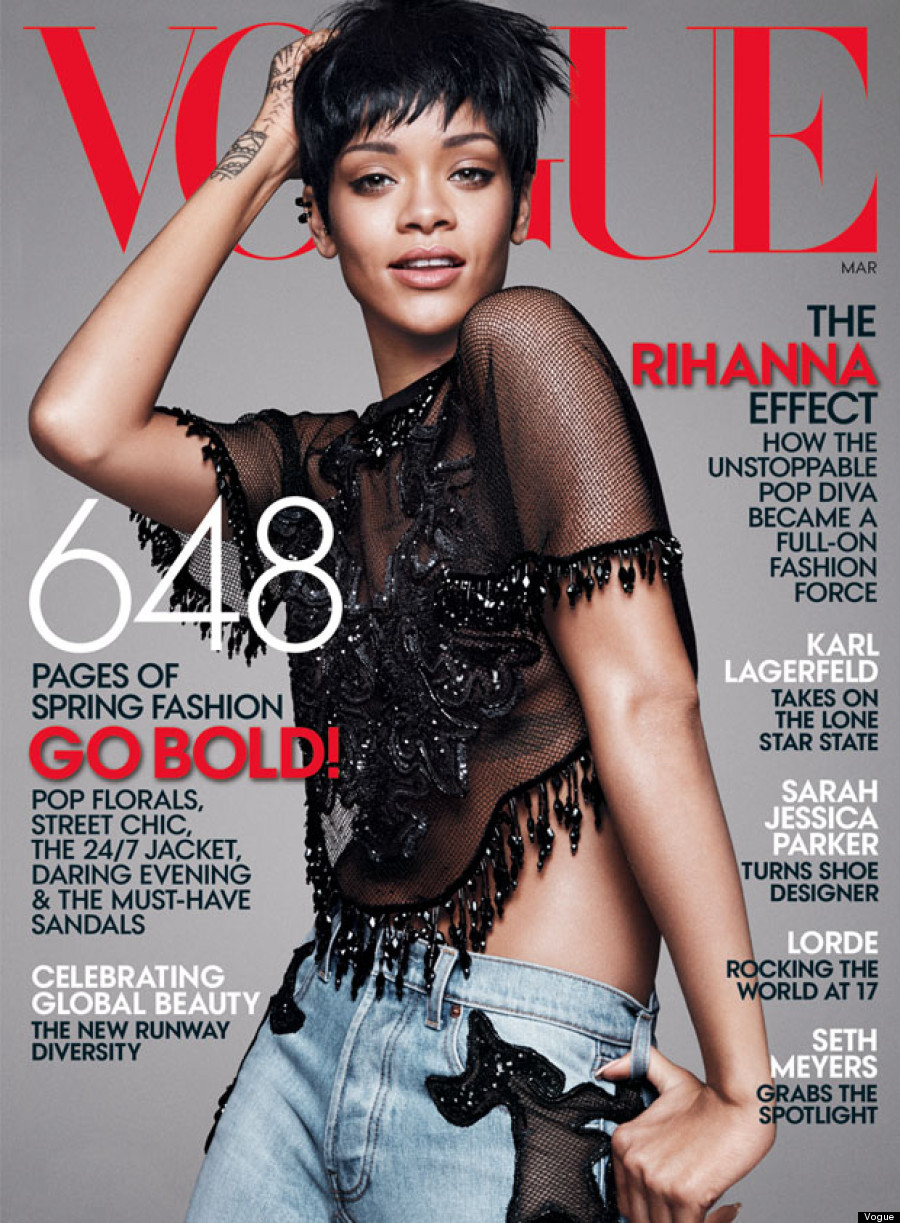 Rihanna on the cover of Vogue US March 2014