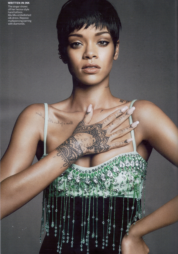Rihanna wearing Miu Miu Spring Summer 2014 embellished dress in Vogue March 2014