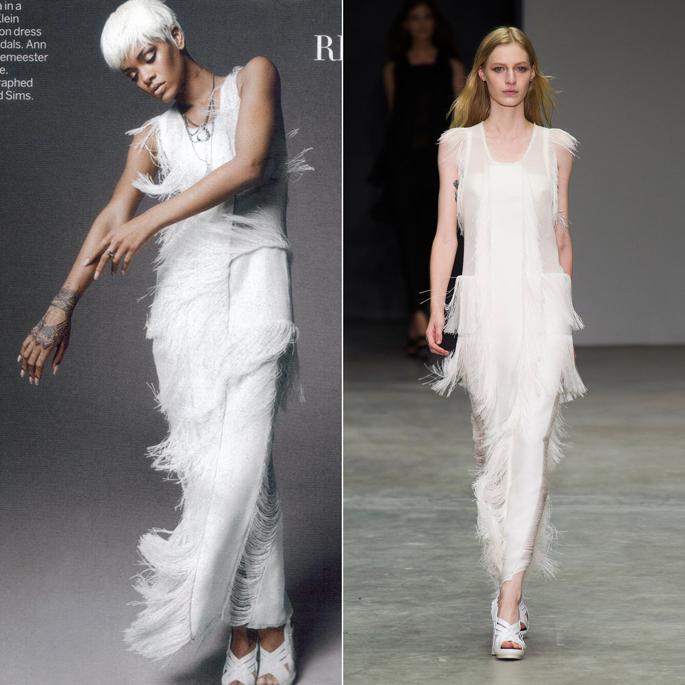 Rihanna wearing Calvin Klein Collection Spring Summer 2014 fringed white dress and sandals in US Vogue