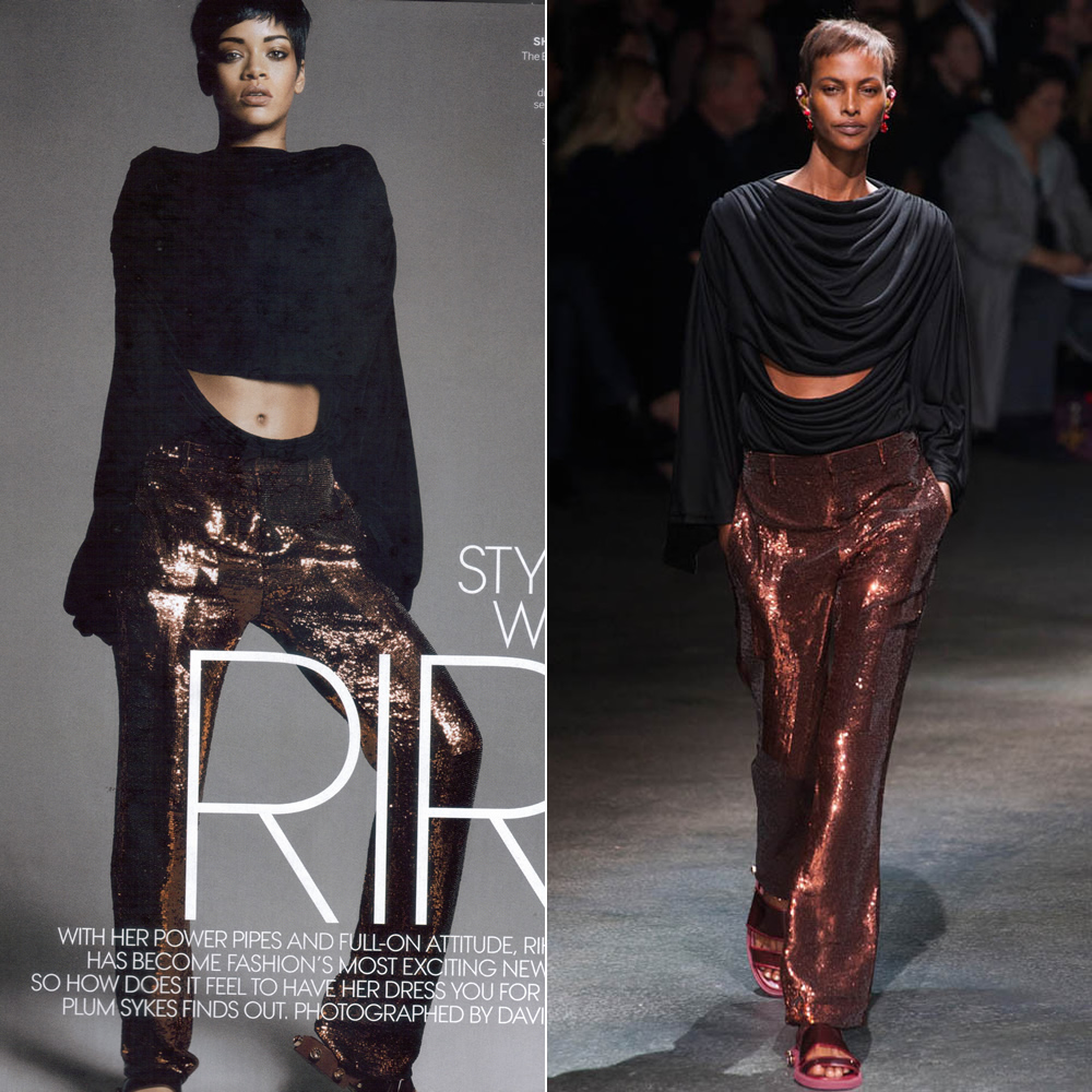 Rihanna wearing Givenchy Spring Summer 2014 draped black top and sequined pants in Vogue March 2014