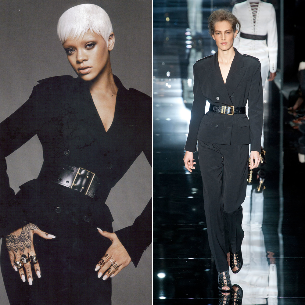 Rihanna wearing Tom Ford Spring Summer 2014 double breasted wool coat and pants in Vogue March 2014