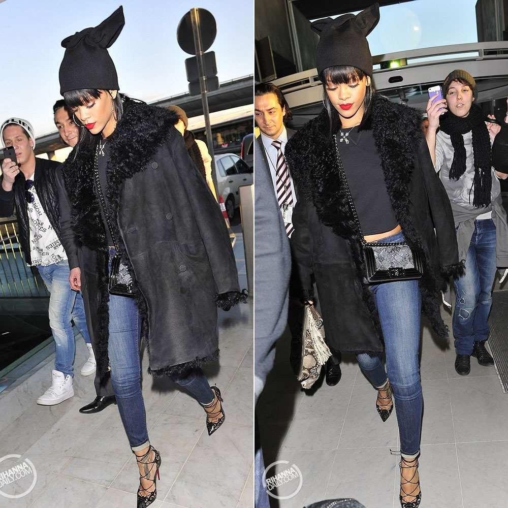 Rihanna wearing Azzedine Alaia black shearling coat, Adam Selman bunny ears beanie hat, Christian Louboutin black Impera sandals, Chanel boy handbag, Jacquie Aiche sweat leaf marijuana clutch, Elise Dray cross necklace