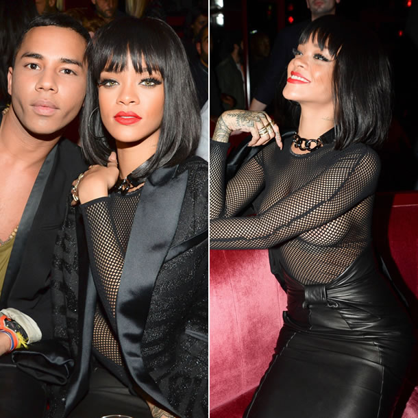 Rihanna at the Balmain party at Crazy Horse in Paris wearing Balmain pre-fall 2014 tiger stripe jacket, leather skirt and Wolford Amelia mesh bodysuit with Lizzie Mandler rings