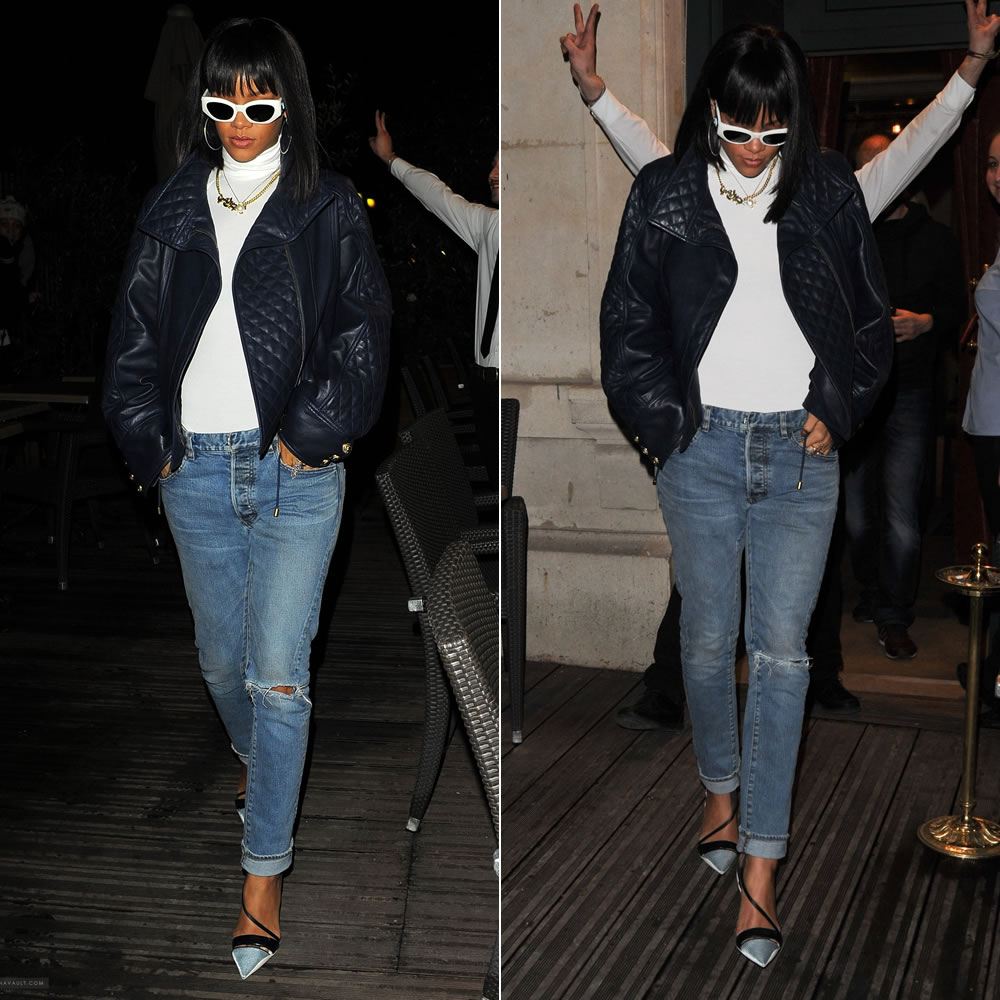 Rihanna wearing Balmain blue leather jacket, ripped jeans, Christian Dior resort 2014 shoes, vintage white Versace 420 sunglasses and Sabine G medieval ring