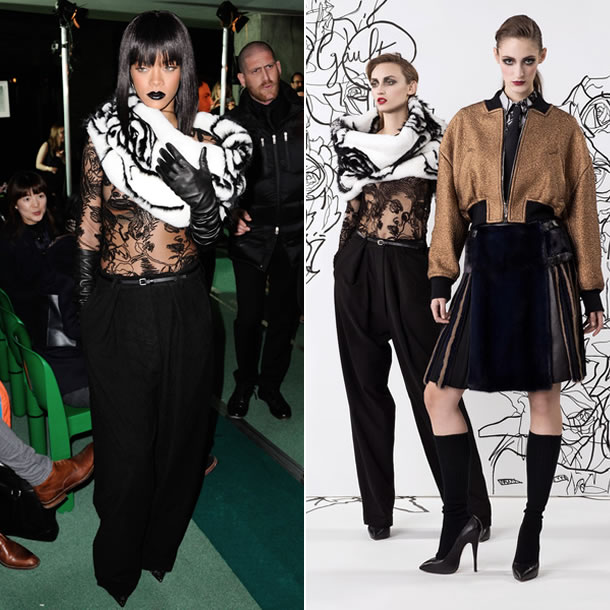 Rihanna wore Jean Paul Gaultier pre-fall 2014 white fur, sheer shirt and wide leg pants to the Fall 2014 show