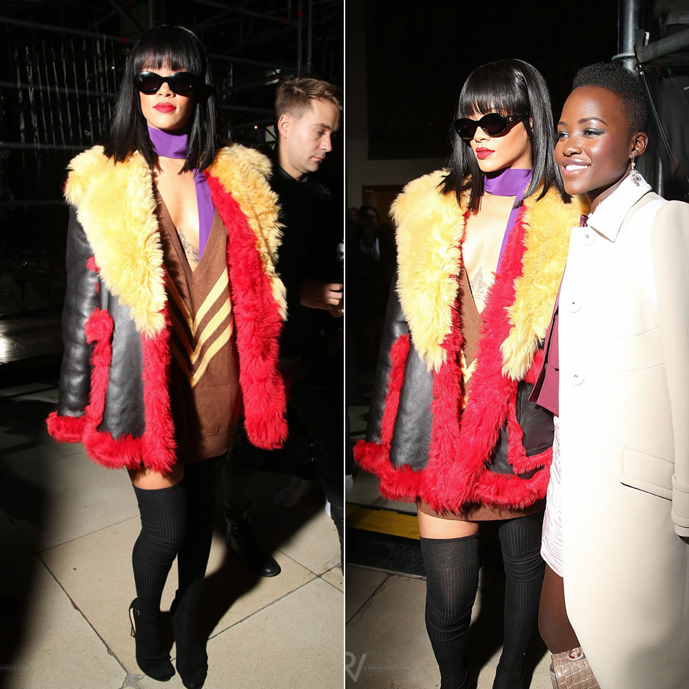 Rihanna at Miu Miu Fall Winter 2014 fashion show wearing Prada Fall Winter 2014 black leather and fur coat, brown v neck dress, Versace black and gold sunglasses, Manolo Blahnik black suede Chaos sandals