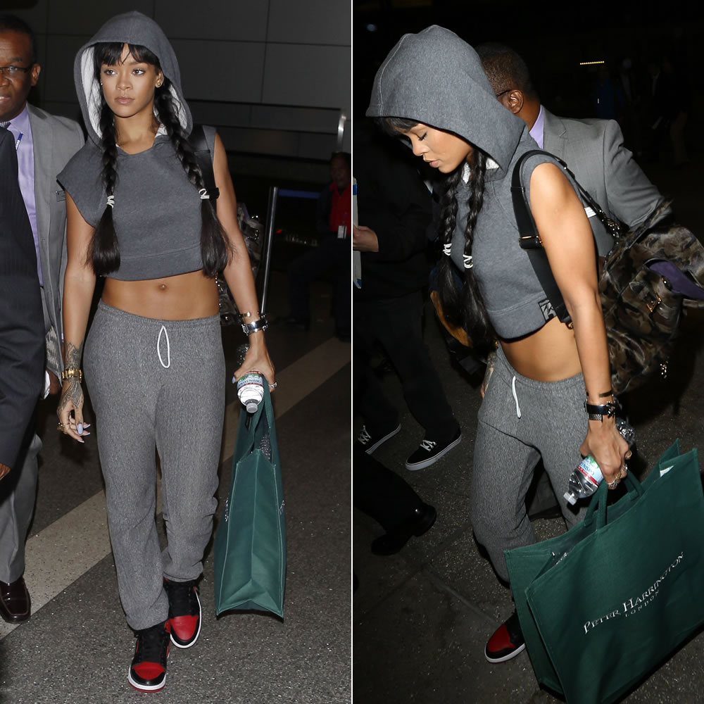 Rihanna Arrives At Lax With Mulberry S Cara Bag Haus Of