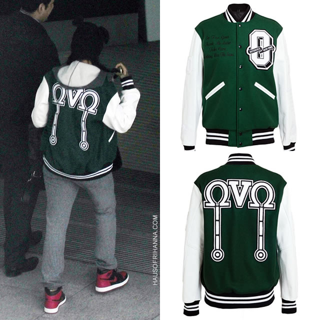 Rihanna wearing green October's Very Own OVO varsity bomber jacket, Adam Selman beanie, Air Jordan 1 mid sneakers