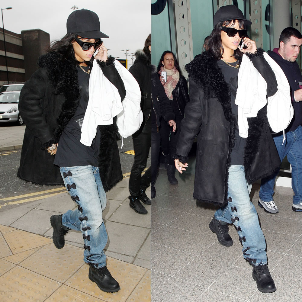 Rihanna wearing Azzedine Alaia black shearling coat, Tu Es Mon Tresor black bow embroidered boyfriend jeans, Timberland black roughcut boots, Melody Ehsani nameplate necklace, Eddie Borgo gold cone ring, Stell McCartney backpack
