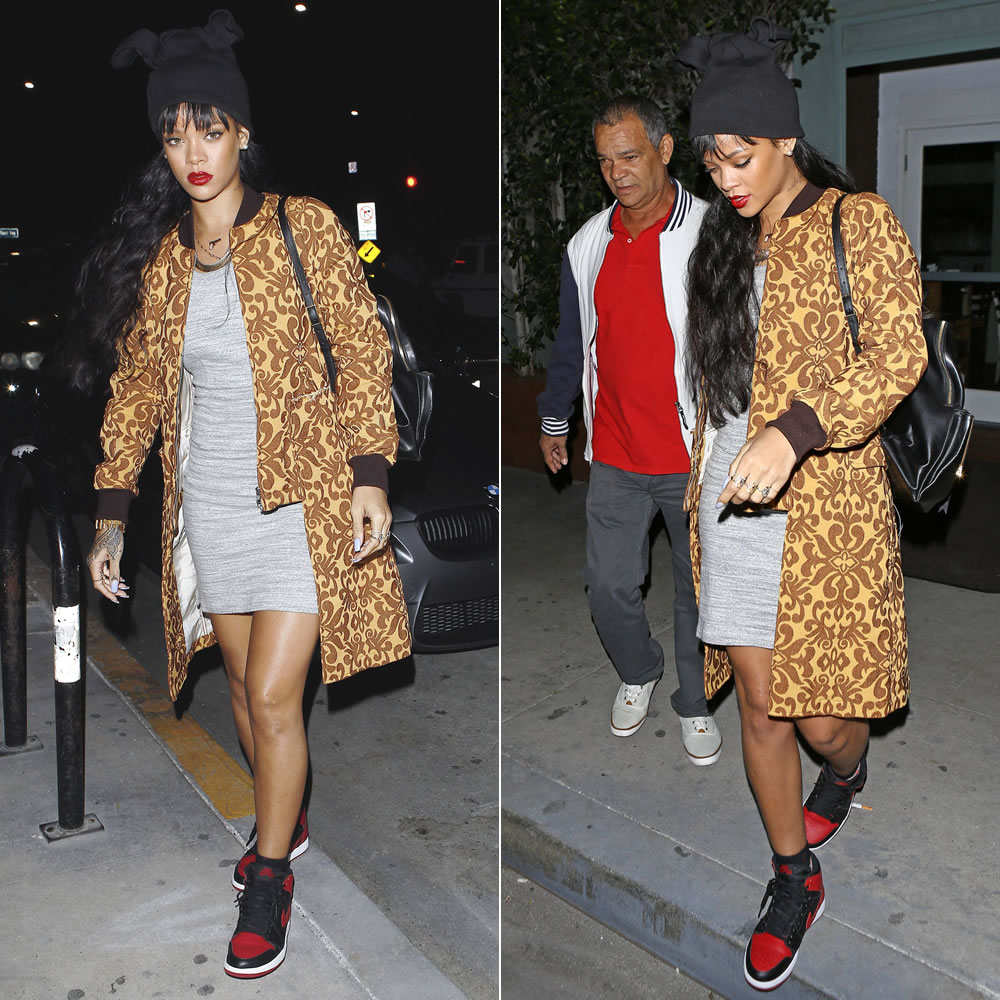 Rihanna wearing Adam Selman beanie hat, Stella McCartney Beckett backpack, Air Jordan 1 retro mid sneakers, Fallon herringbone necklace, Eddie Borgo spire line bracelet, Campise gun necklace