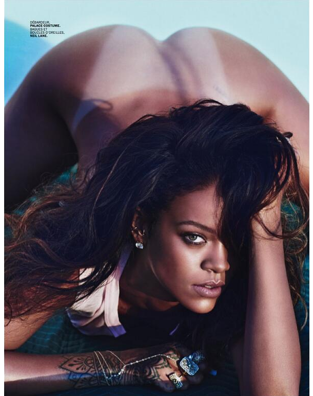 Rihanna in Lui magazine wearing a Palace Costume cropped top, Neil Lane jewelry and Jacquie Aiche finger bracelet