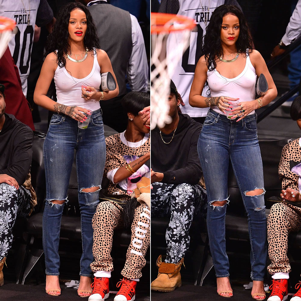 Rihanna wearing Citizens of Humanity Premium Vintage Arley jeans in Ramone, Manolo Blahnik Chaos sandals, Patricia Field Lucky 1000 money clutch, Jacquie Aiche jewelry, Alison Lou screw u cuff