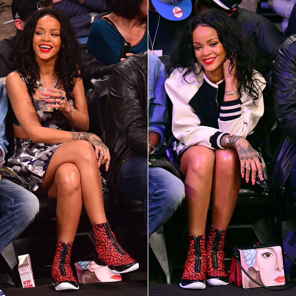 Rihanna wearing Isabel Marant Etoile Cypress varsity jacket, Christopher Kane camo dress, Air Jordan xx8 quickstrike sneakers in red elephant, Prada x Jeanne Detallante Saffiano face print handbag