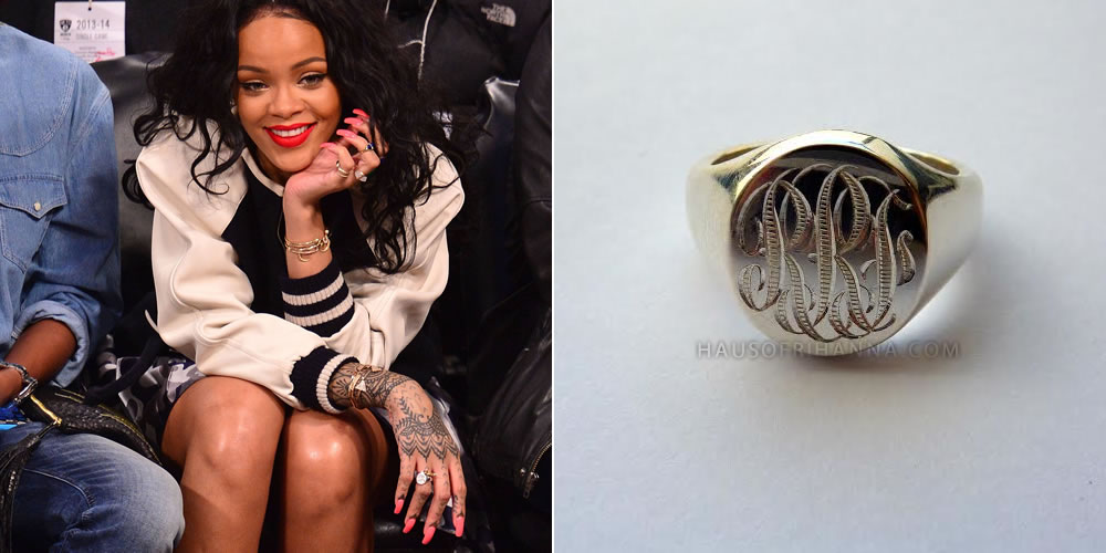 Rihanna in Sophie Breitmeyer personalised oval signet ring