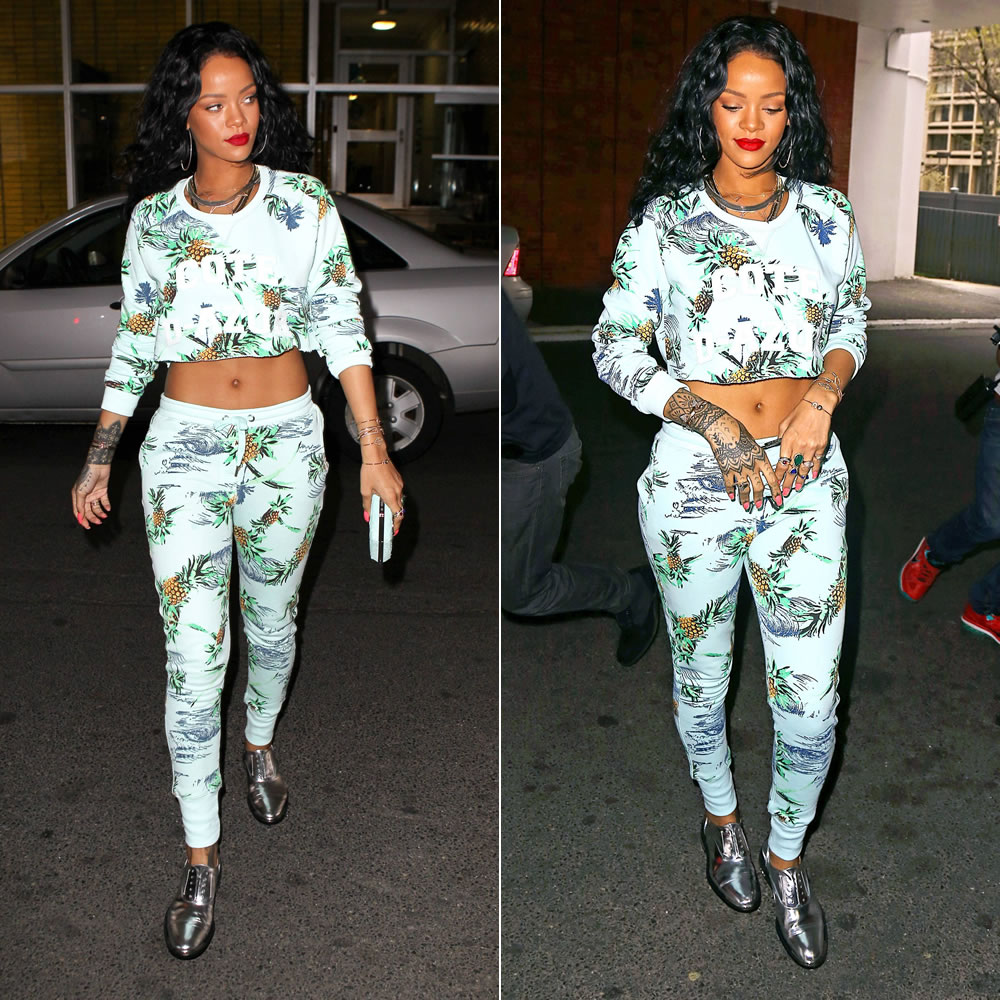 Rihanna wearing Zoe Karsson Paradise tropical print sweatshirt and sweatpants, Barbara Bui silver metallic oxford shoes, Chanel turquoise python clutch, Jacquie Aiche jewelry, Fallon herringbone necklace, Alison Lou screw u cuff
