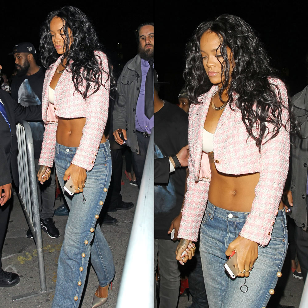 Rihanna wearing Chanel pink cropped tweed jacket, Tu Es Mon Tresor peal embellished boyfriend jeans, Christian Loubout Iriza d'orsay gold pumps