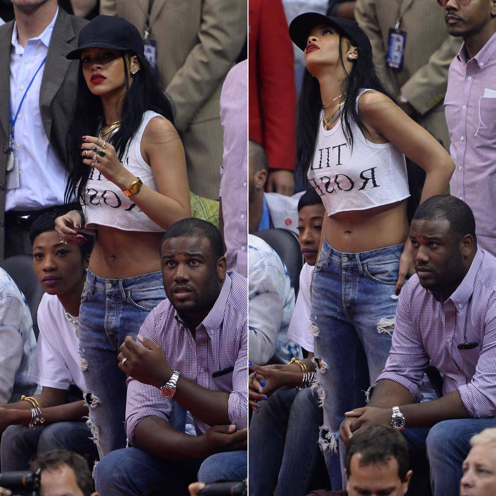 Rihanna at the Clippers game in Ann Demeulemeester Til Roses tank top and Acne Generic Girl distressed ripped boyfriend jeans