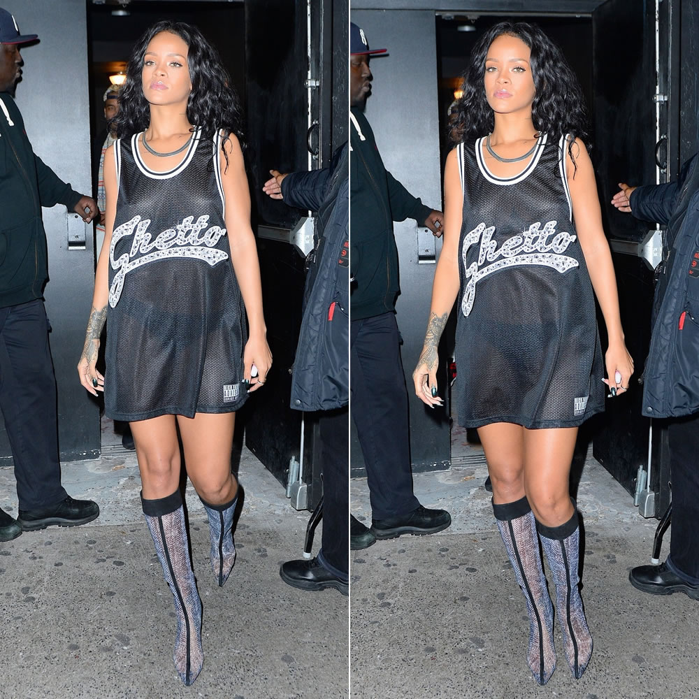 Rihanna wearing Joyrich Ghetto Bling Bling tank top as a dress, Fallon wet gold herringbone necklace