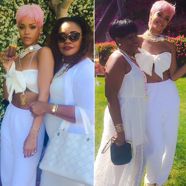 Rihanna wearing Adam Selman Spring 2014 bow top and Chanel Spring 2014 pearl necklace