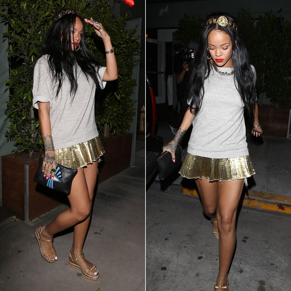 Rihanna wearing Dries Van Notel grey sweatshirt with pleated gold hem, Dolce & Gabanna gold coin headband, Christian Louboutin Cataclou studded platform espadrille, Fallon herringbone necklace, Lynn Ban cabochon ring, Jacquie Aiche rings, necklace and anklets, Jacquie Aiche eye python clutch