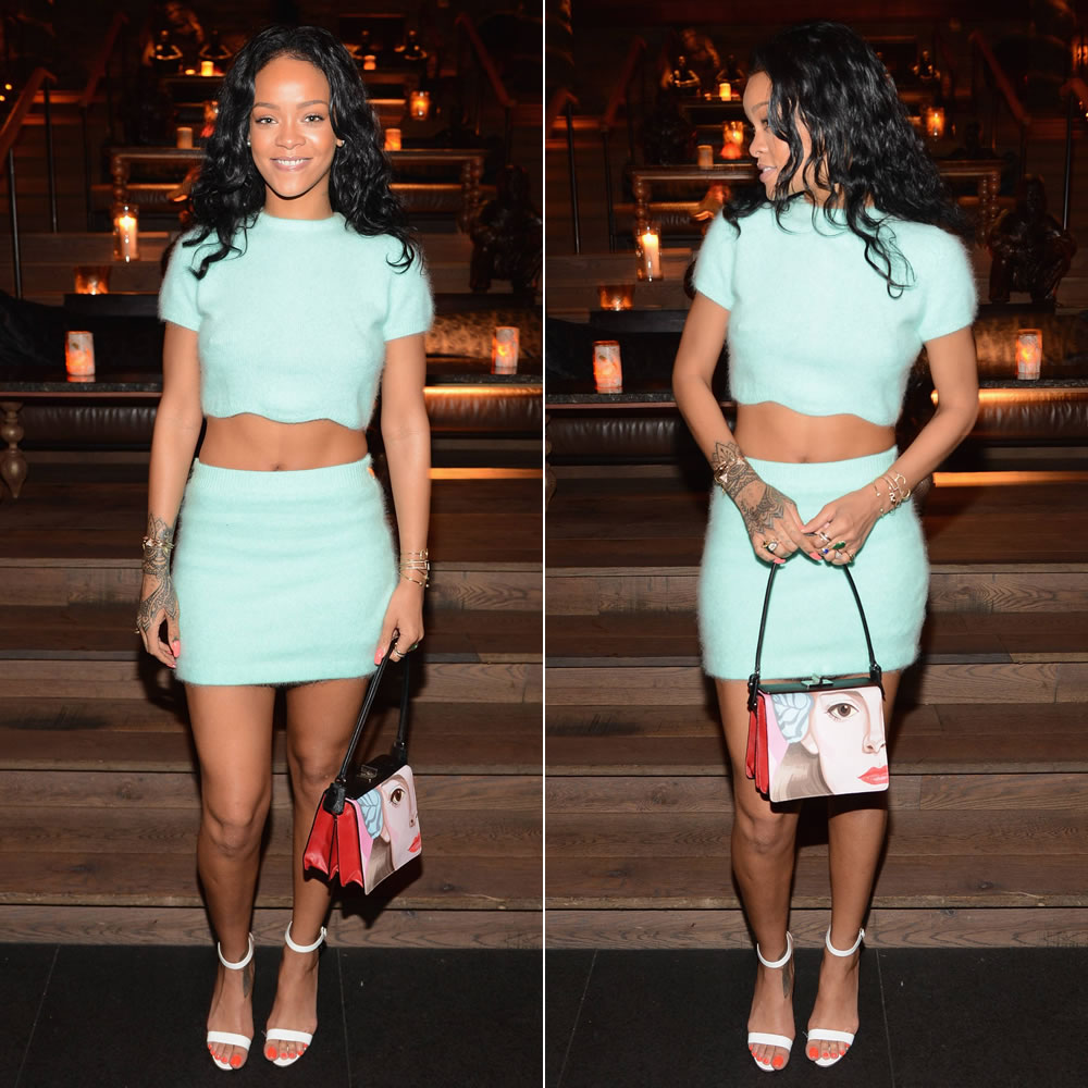 Rihanna wearing Kiko Mizuhara mint green cropped top with scalloped hem and mini skirt, Manolo Blahnik Chaos sandals, Prada by Jeanne Detallante Saffiano face print handbag