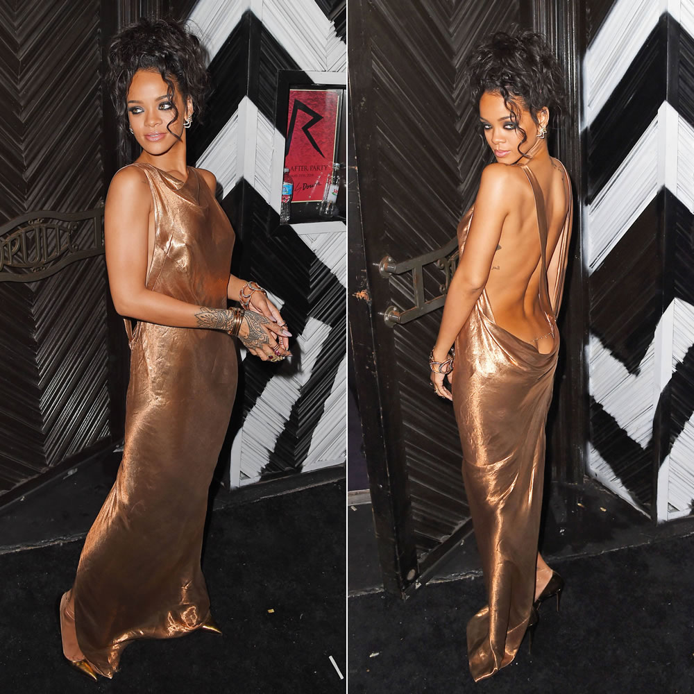 Rihanna wearing custom Stella McCartney gold dress at the Met Gala afterparty