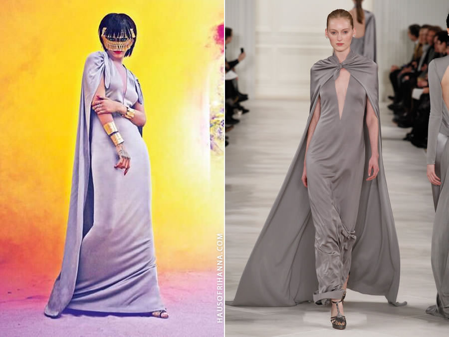 Rihanna wearing Ralph Lauren Fall 2014 grey dress with cape in Harper's Bazaar Arabia July 2014