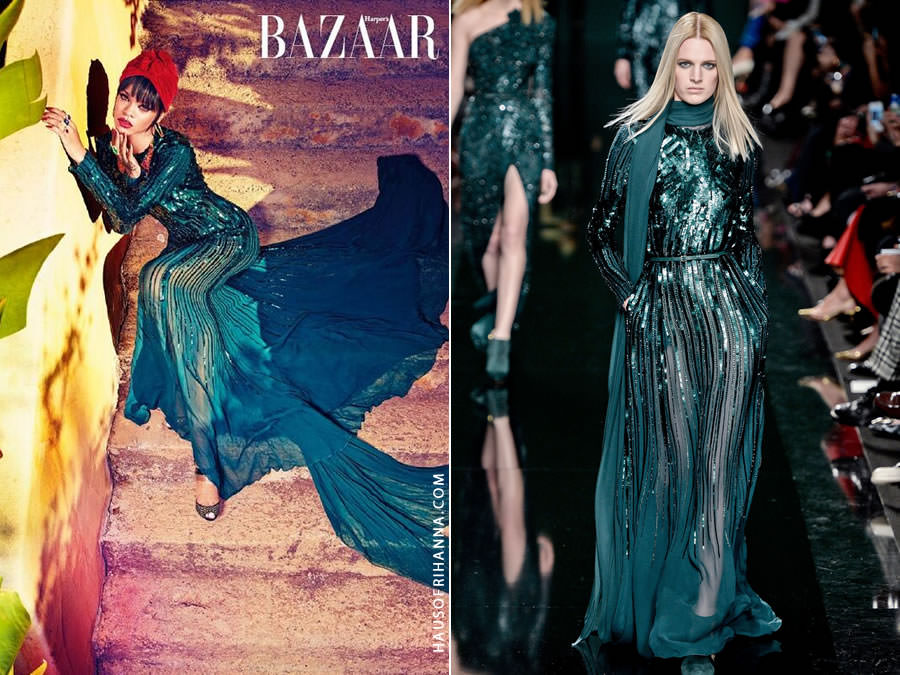 Rihanna wearing Elie Saab Fall 2014 green sequin dress in Harper's Bazaar Arabia July 2014