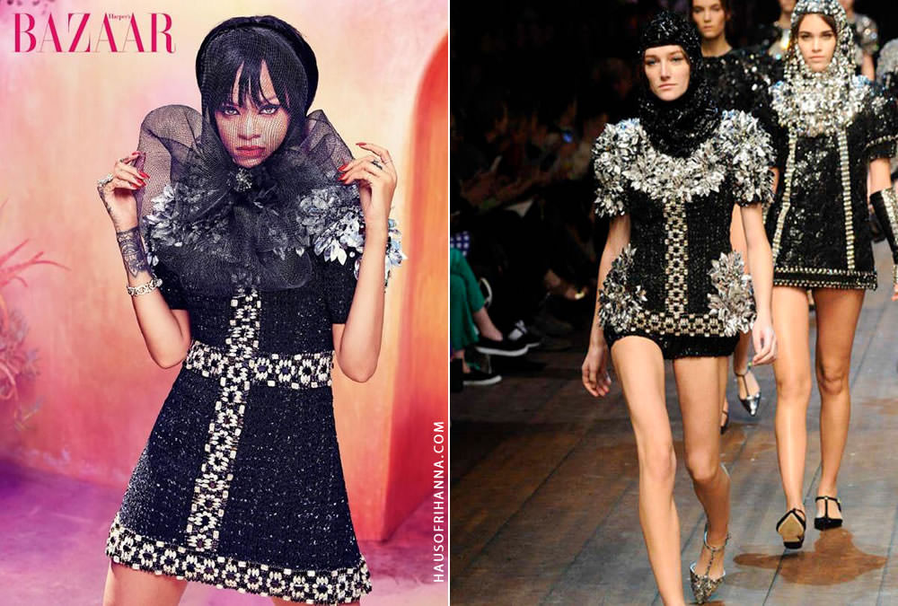Rihanna wearing Dolce and Gabbana Fall 2014 embellished mini dress in Harper's Bazaar Arabia July 2014