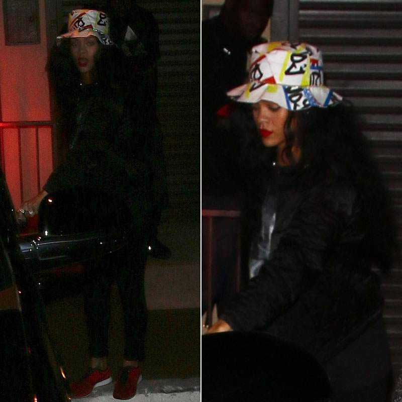 Rihanna wearing Joyrich Hello My Name Is hat, Isabel Marant Etoile diamond quilted jacket, Trapstar Oracle t-shirt, Nike Flyknit Trainer+ red sneakers