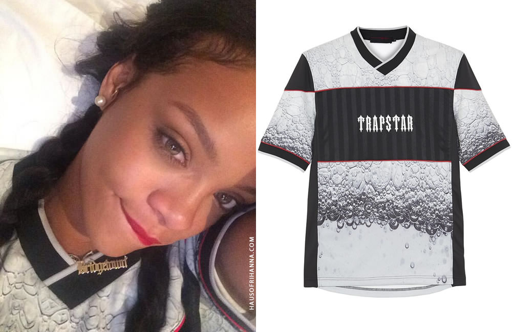 Rihanna wearing Trapstar Evolution printed football t-shirt