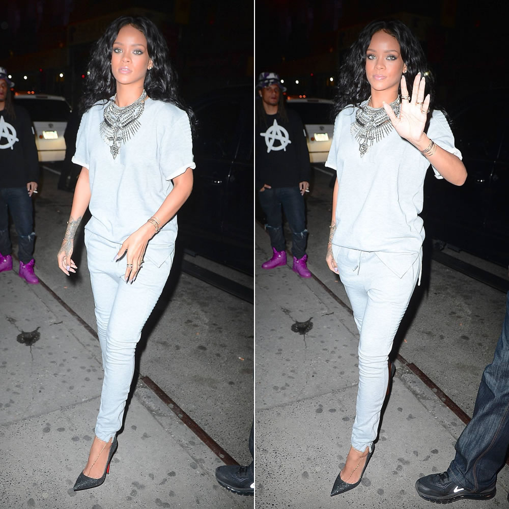 Rihanna wearing DYLANLEX Falkor II necklace, VENUSxMARS Spock sweatshirt and Buck Rogers sweatpants, Christian Louboutin So Kate glitter pumps, Jacquie Aiche gemstone rings and anklets