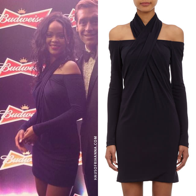 Rihanna wearing Alexander Wang black off-the-shoulder halter dress