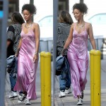 Rihanna in Patricia Fieldwalker pink silk charmeuse and lace lingerie gown