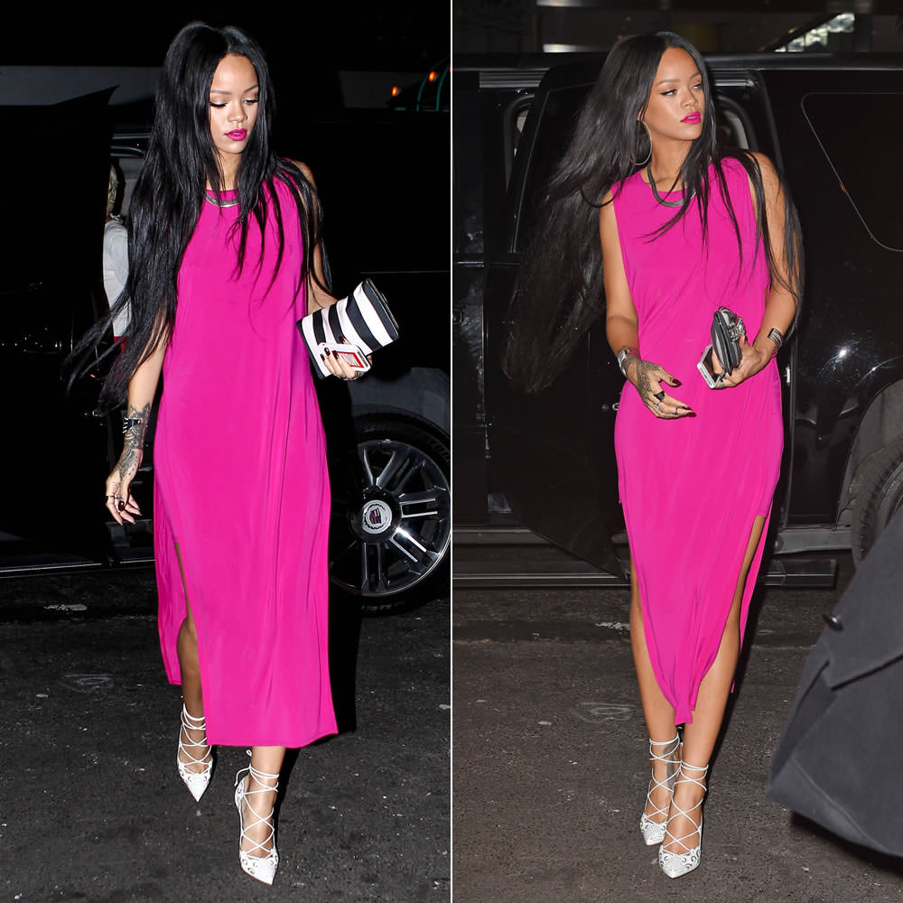 Rihanna In Pink Helmut Lang Slit Dress Haus Of Rihanna