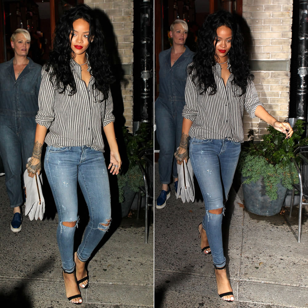 Rihanna wearing Isabel Marant Etoile striped button front shirt, Citizens of Humanity Racer skinny jeans in Crosby, Manolo Blahnik Chaos ankle strap sandals, Miu Miu chain handle bag