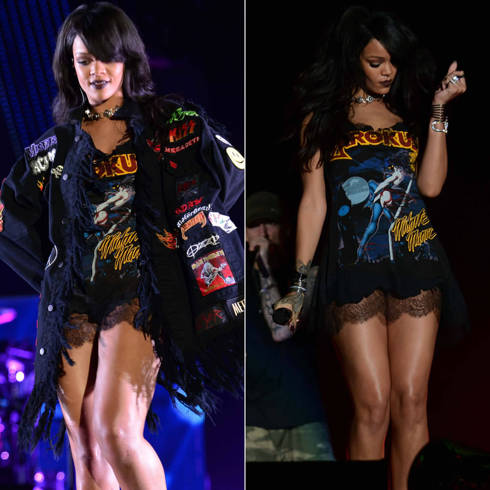 Rihanna performing in custom Adam Selman patch jacket and Krokus t-shirt dress during the Monster Tour