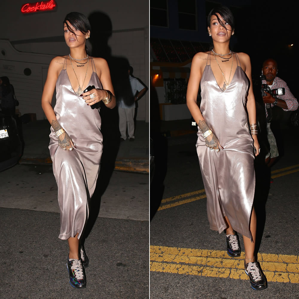 Rihanna wearing Nasty Gal metallic slip dress, Lanvin hologram sneakers, Yvonne Leon pearl ear jacket