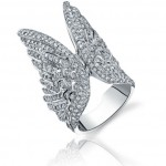 Jason of Beverly Hills double angel wing ring with white diamonds as seen on Rihanna
