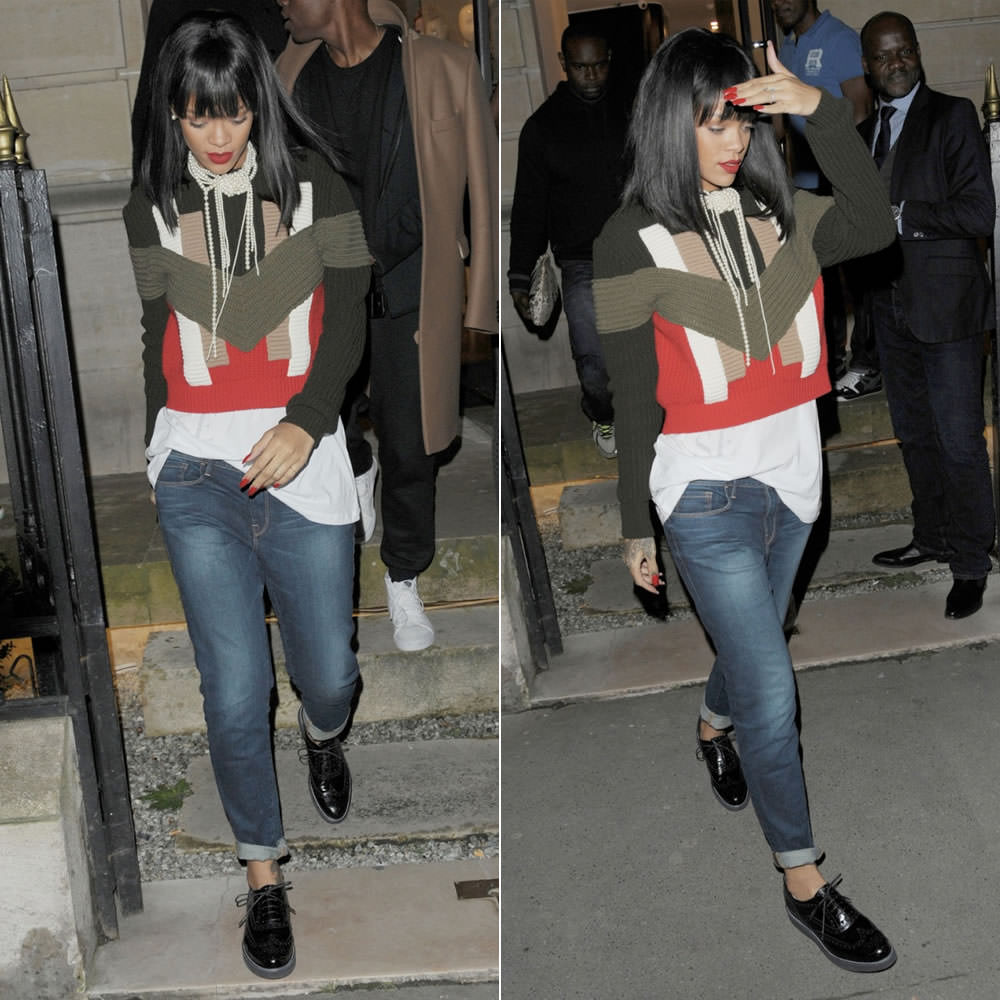 rihanna in givenchy geometric color block sweater. Black Bedroom Furniture Sets. Home Design Ideas