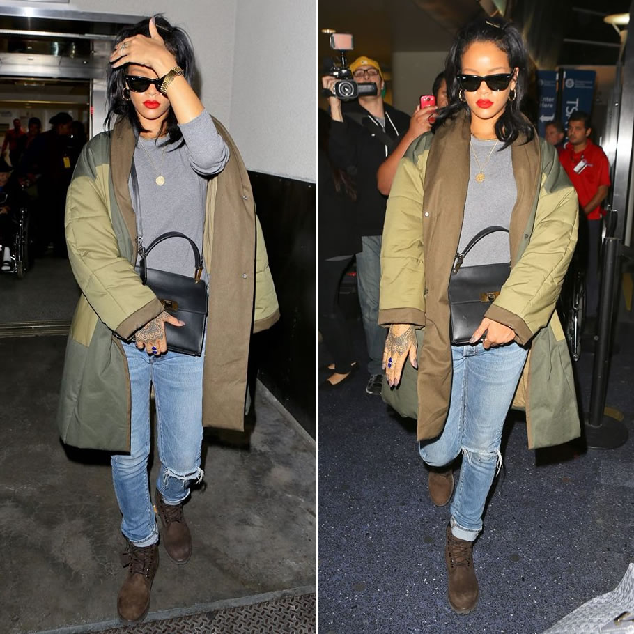 Rihanna in Isabel Marant Etoile Flor quilted coat, Balmain Homme jeans, Timberland dark chocolate nubuck boots, Ray-Ban Wayfarer sunglasses, Jacquie Aiche lapis double teardrop ring, Balenciaga Le Dix cartable satchel