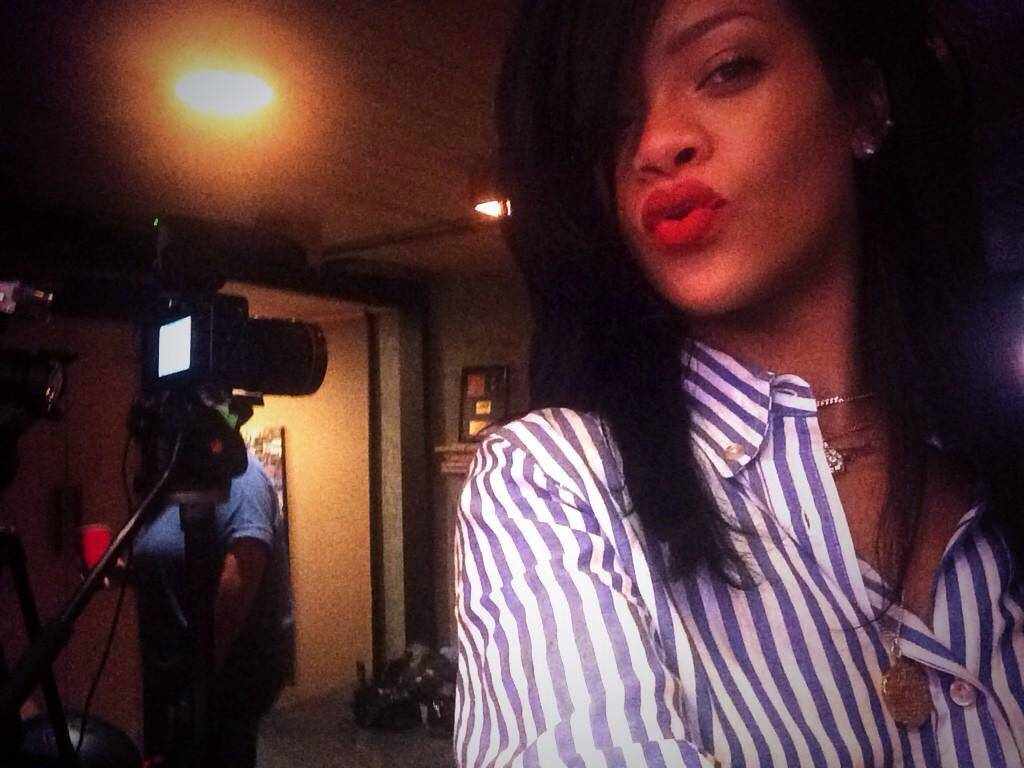 Rihanna in Isabel Marant Eddie blue and white striped shirt