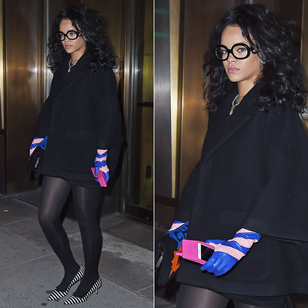 Rihanna wearing Dior wool coat, Dior Stripes pink and blue long gloves, Chanel patchwork shearling flap handbag, Manolo Blahnik BB striped ponyhair pumps, Moschino Spring 2015 pink retro iPhone case