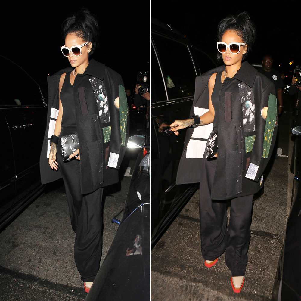 Rihanna wearing Stella McCartney nude oversized sunglasses and Britt pink platform lace-up shoes, Raf Simons by Sterling Ruby Fall 2014 wool patch coat, Saint Laurent gun print clutch, Nektar de Stagni pearl choker, Givenchy wide buckle cuff