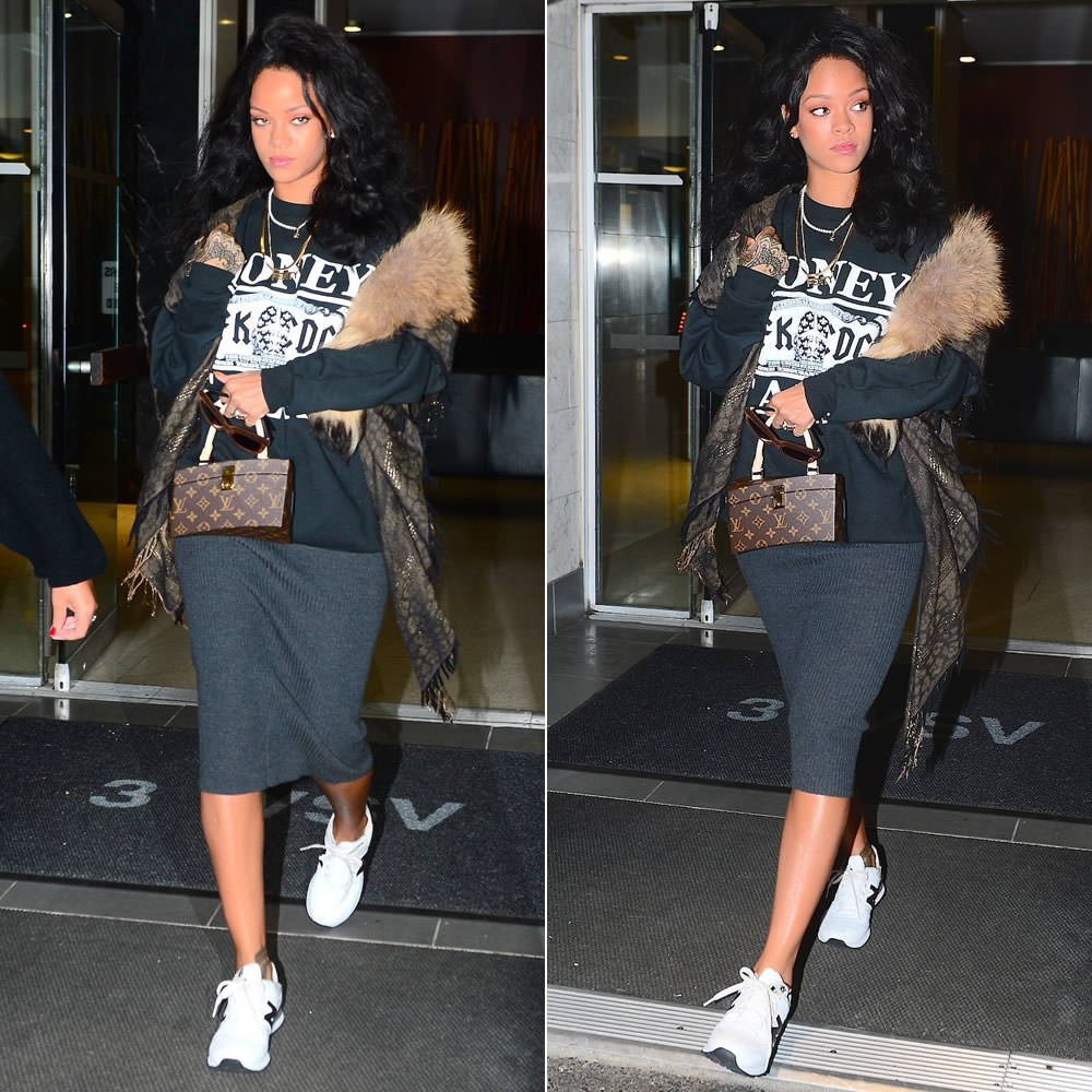 Rihanna in Spye x ShicNYC Money Talks black sweatshirt, Roberto Cavalli fringed fur shawl, New Balance 574 sneakers, Louis Vuitton Twisted Box handbag, Italia Independent 0092V brown velvet sunglasses