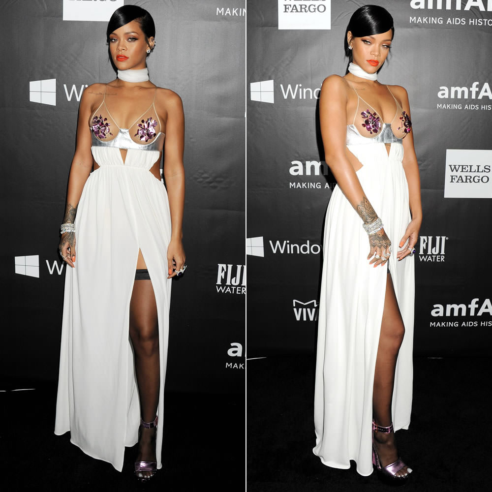Rihanna at amFAR gala wearing Tom Ford Spring/Summer 2015 white gown with slit and pink mirror metallic platform sandals