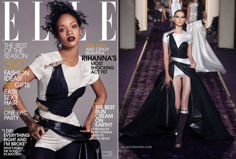 Rihanna in Elle magazine December 2014 wearing Atelier Versace Fall 2014 gown