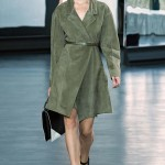 Jason Wu Spring/Summer 2015 belted green suede coat as seen on Rihanna