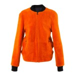 3.1 Phillip Lim orange shearling bomber jacket jacket as seen on Rihanna